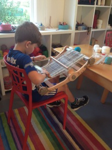 child weaving
