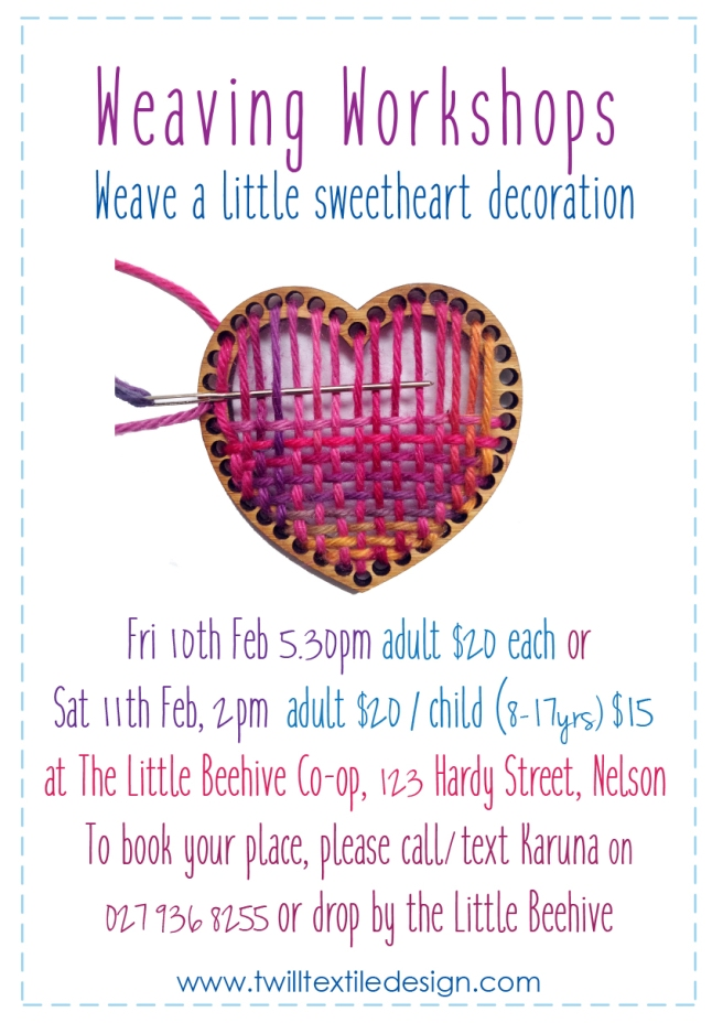 A5 Heart weaving kit Workshop feb 10th and 11th 2017