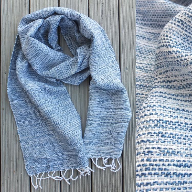denim blue white scarf