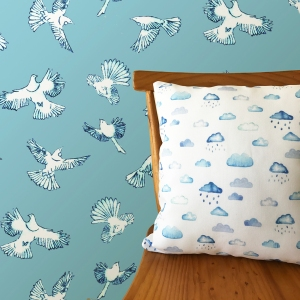 Nester Twill Dawn Chous Blue wall paper the inside