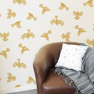 Twill Nester Fantail flight Mustard The Inside wall paper