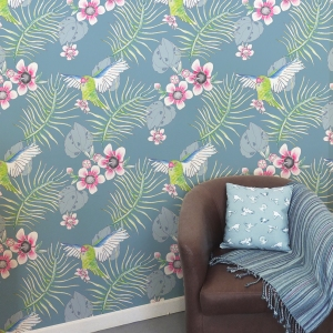 Twill Nester Kakariki Smokey blue The Inside wall paper